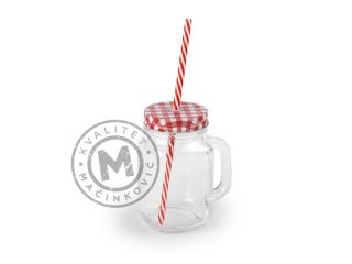 Glassware Jar with Lid and Straw, Jar