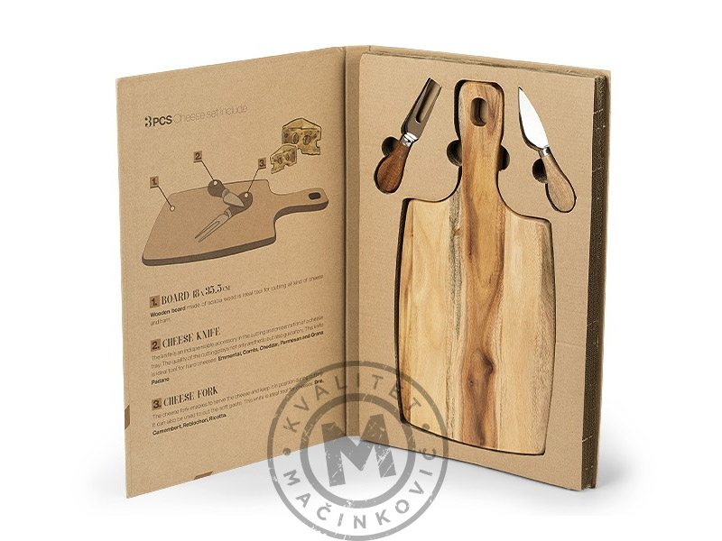 Set Cutting Board and Cheese Knives, Parma