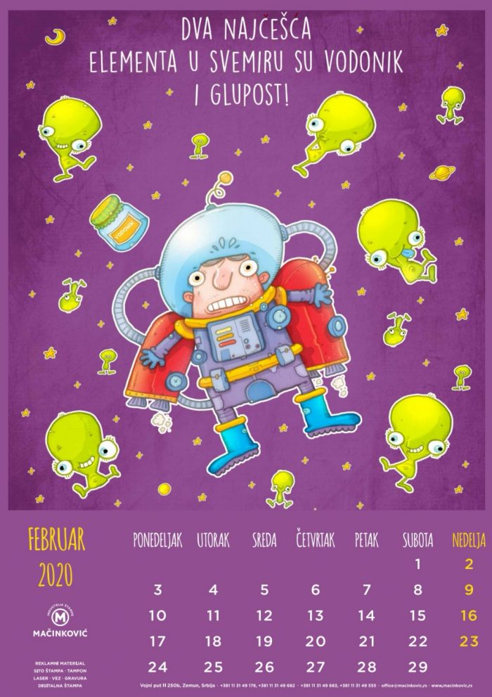 kalendar mačinković 2020 februar
