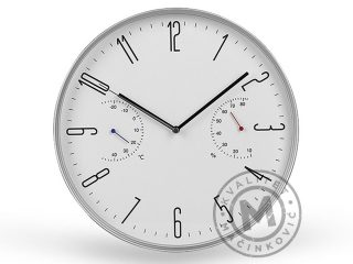 Wall clock with temperature and humidity display, Kelvin