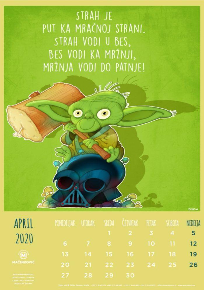 kalendar 2020 april
