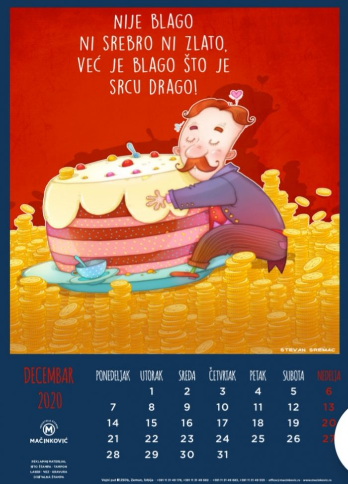 kalendar 2020 decembar