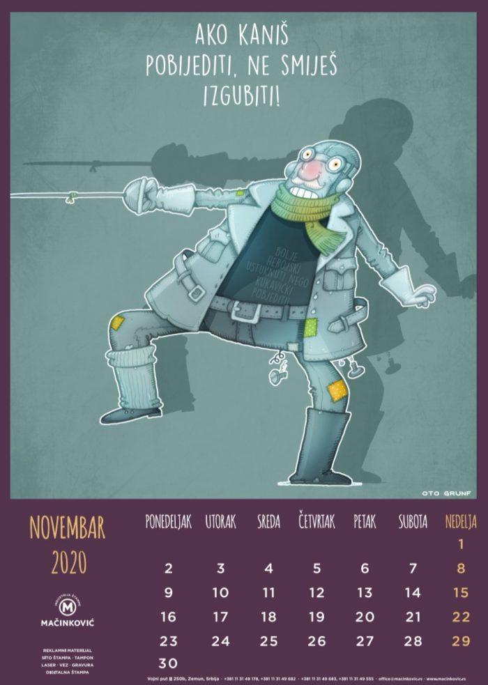 kalendar 2020 novembar