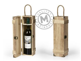 Wooden single bottle gift box, Baroque