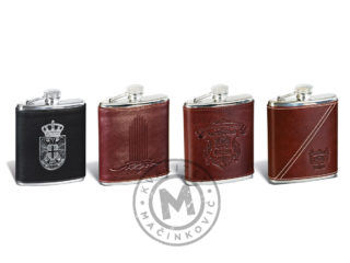 Hip flask with leather cover, 345