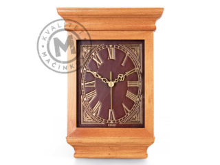 Wall clock wood – leather, 535