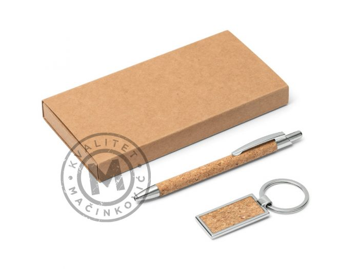 ball-pen-and-keyring-with-cork-finish-in-set-lavre-beige