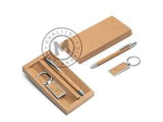 Ball pen and keyring with cork finish in set, Lavre