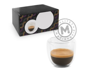 Glass coffee set with two isothermal cups, Expresso