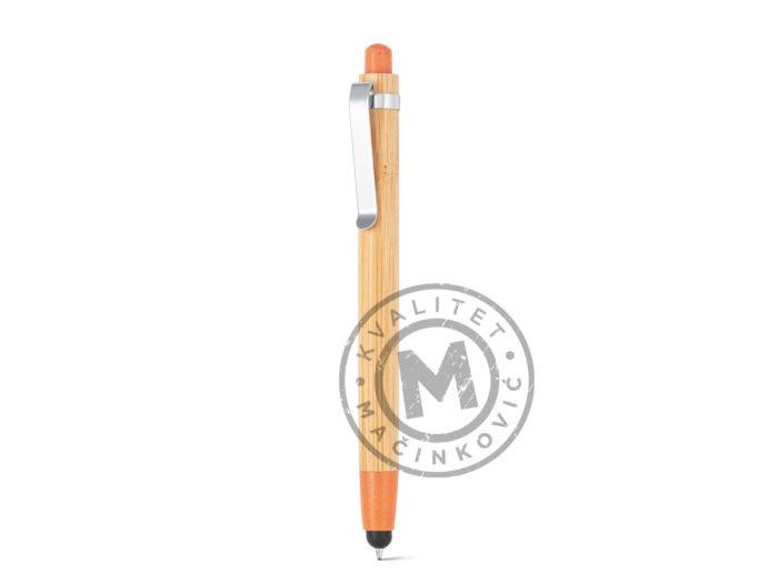 hemijska-olovka-od-bambusa-sa-touch-vrhom-benjamin-narandzasta