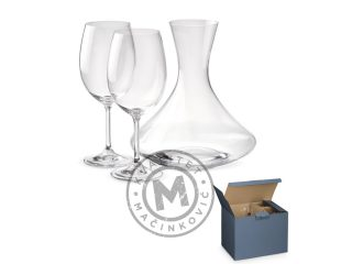 Wine set with bottle and two glass, Bordeaux
