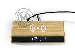 Desktop LCD clock with wireless charger, Corner