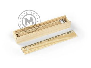 Set – drvene bojice, lenjir i zarezač, Pinto